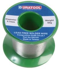 DURATOOL D03341  Solder Wire, Lead Free, 0.7Mm, 50G